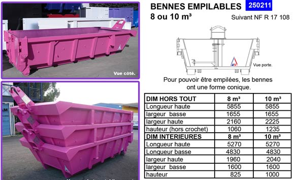Bennes empilables