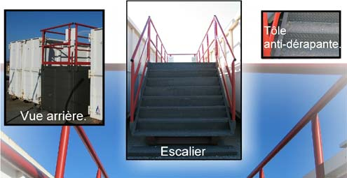 Escalier / plateforme sur berce : TAMROCH bennes et conteneurs