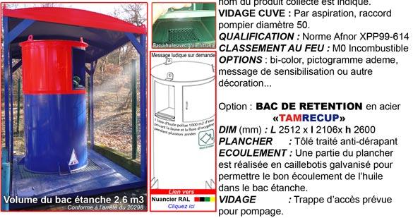 """Conteneur huile de vidange """"tamhuile"""" : TAMROCH bennes et conteneurs"""